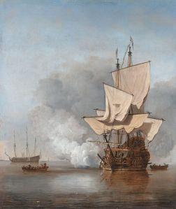 404px-Het_Kanonschot_-_Canon_fired_(Willem_van_de_Velde_II,_1707)