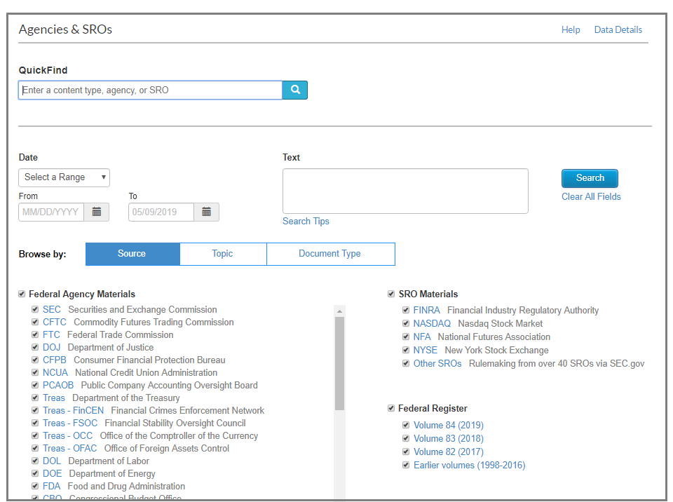 Agencies SROs screenshot